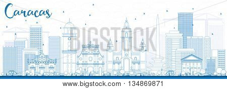 Outline Caracas Skyline with Blue Buildings. Vector Illustration. Business Travel and Tourism Concept with Historic Buildings. Image for Presentation Banner Placard and Web Site.