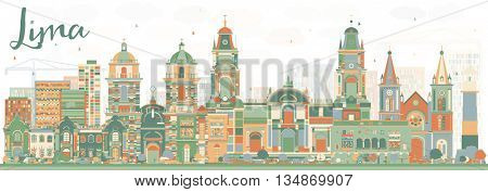 Abstract Lima Skyline with Color Buildings. Vector Illustration. Business Travel and Tourism Concept with Lima City. Image for Presentation Banner Placard and Web Site.