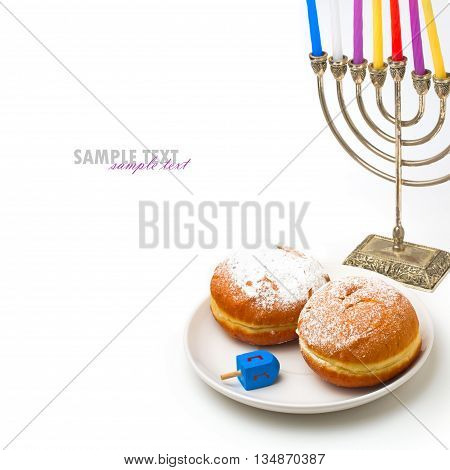 Jewish holiday Hanukkah symbols on white background