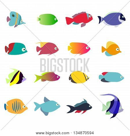 Aquarium fishes set isolated on white background. Collection of exotic fish. Vector fish eps 10