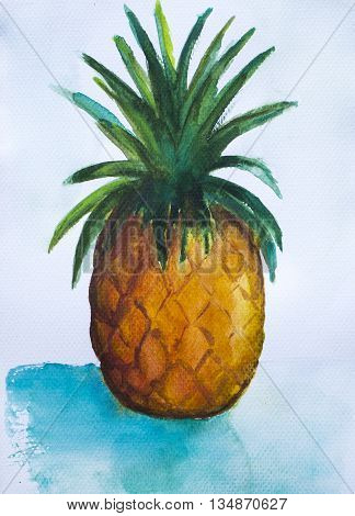 Pineapple painting on white background, hand-painted pineapple, exotic fruit, watercolor painting pineapple