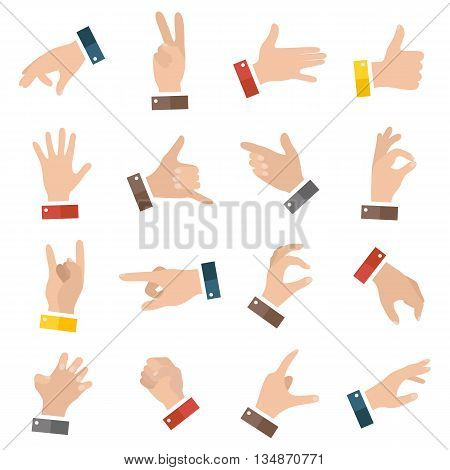 Open empty hands showing different gestures. 16 icons set isolated. Vector hand illustration EPS10
