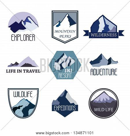 Set of mountain adventure and expedition logo badges collections. Travel emblems vector EPS10