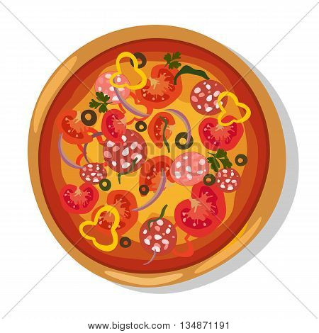 Flat hot pizza icons. Pizza isolated on white, pepperoni pizza. Vector EPS10