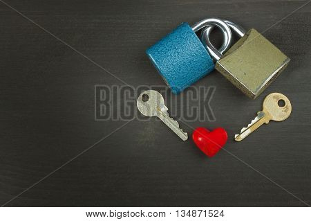 Symbol of love and happiness. Lock and heart. Key to the heart. Locked love. Family security. Romantic love.