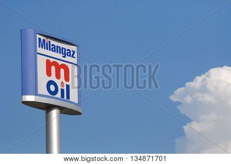 ANKARA/TURKEY-JUNE 5, 2016:  M Oil-Milangaz filling station's signboard at the Saray region. June 5, 2016-Ankara/Turkey