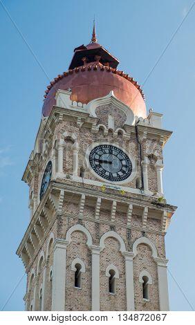 Clock tower of Sultan Abdul Samad building near Merdeka Square in Kuala Lumpur Malaysia