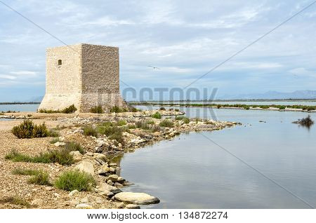 Watchtower In The Salt Lakes. Natural Saline Park, Santa Pola, Alicante, Spain