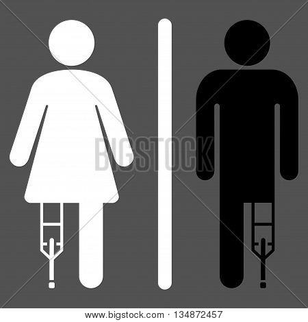 Patient WC Persons vector icon. Style is bicolor flat icon symbol with rounded angles, black and white colors, gray background.