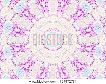 Abstract geometric seamless background. Concentric circle ornament in beige, pink, violet, magenta and light blue, delicate and dreamy.