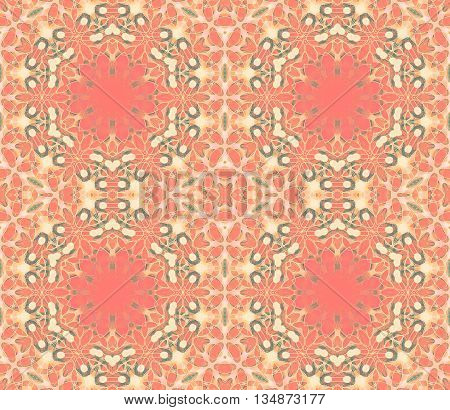 Abstract geometric seamless background. Ornate hexagon pattern in pastel red, orange, beige, pink, peach and apricot color with green and brown elements, extensive and dreamy.