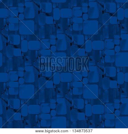 Abstract geometric dark background. Seamless square pattern overlaying in dark blue on black.