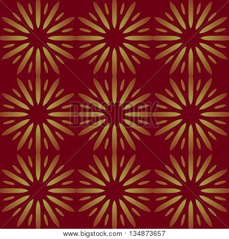 Abstract geometric seamless background. Regular golden stars pattern on brown, festive and shimmering.