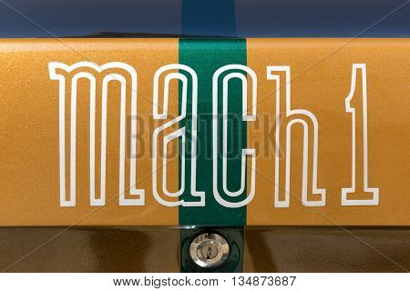 TURIN, ITALY - JUNE 9, 2016: Mach 1 logo on a Ford Mustang