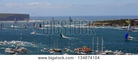 Sydney, Australia - December 26, 2014. Comanche reached first the Tasman Sea. The Sydney to Hobart Yacht Race is an annual event, starting in Sydney on Boxing Day and finishing in Hobart.