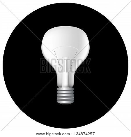 Realistic light bulb on black vector illustration, filament bulb monochrome picture, light bulb on black, filament light bulb pattern, light bulb icon, flat light bulb, light bulb black and white icon