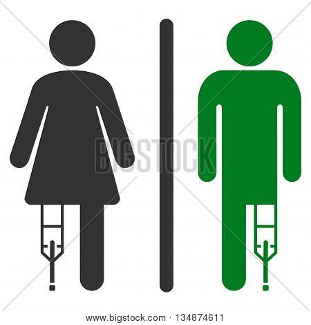 Patient WC Persons vector icon. Style is bicolor flat icon symbol with rounded angles, green and gray colors, white background.