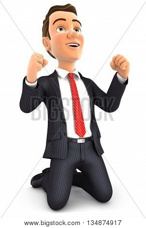 3d successful businessman on his knees illustration with isolated white background