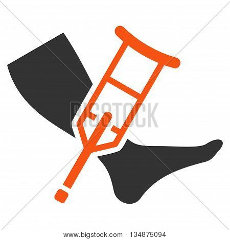 Leg and Crutch vector icon. Style is bicolor flat icon symbol with rounded angles, orange and gray colors, white background.