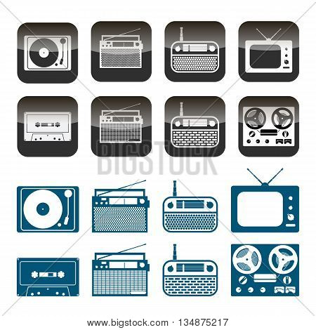 Vector set of radio, audio and music icons. Objects isolated on white background.