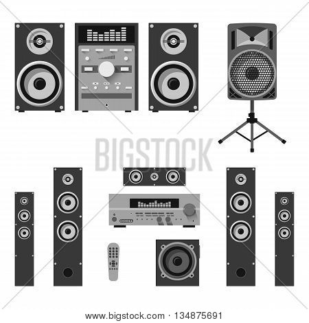 Vector set of audio and music systems icons. Loudspeakers isolated on white background