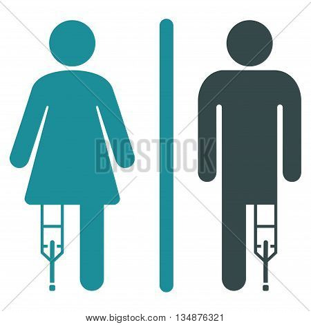 Patient WC Persons vector icon. Style is bicolor flat icon symbol with rounded angles, soft blue colors, white background.