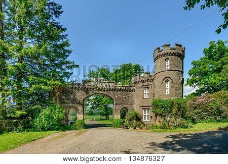 Gatehouse to Monzie Castle Crieff Scotland in summer.