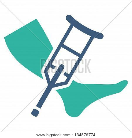 Leg and Crutch vector icon. Style is bicolor flat icon symbol with rounded angles, cobalt and cyan colors, white background.