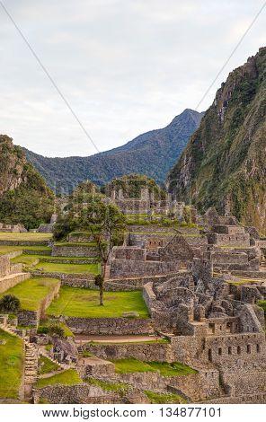Machu Pichu peru archelogical site late afternoon