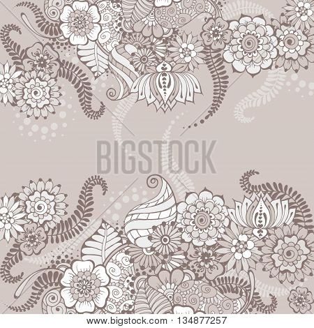 Ornate vector card template in Indian mehndi style. Hand drawn floral grey background. Invitation cards with mehndi elements. Islam arabic indian ottoman motifs.