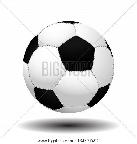 Football. Soccer. Leather soccer ball stitched by thread with realistic shadows isolated on white background. Soccer ball. Football ball. Leather ball. Realistic ball. Stitched ball. Vector. EPS10