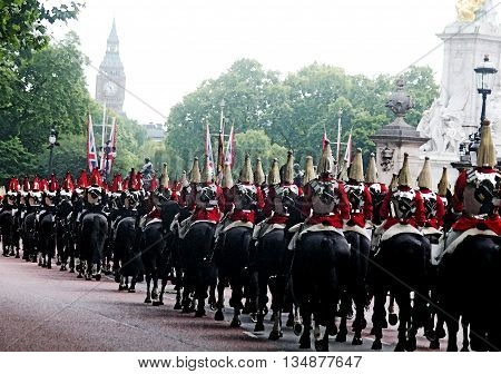 The Household Cavalry Watercolour Effect Trooping The Colour London england