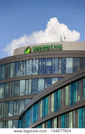 Prague, Czech Republic - June 18: Sberbank Corporation Logo On The Building Of Czech Headquarters On