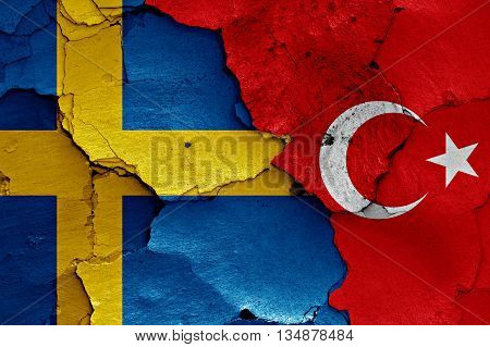 Flags Of Sweden And Turkey Painted On Cracked Wall