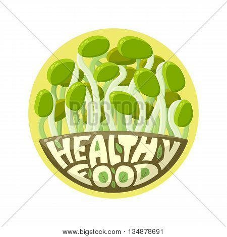 Logo Healthy Food. Germinated seeds, sprouts. Cartoon vector illustration