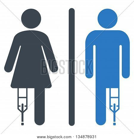 Patient WC Persons vector icon. Style is bicolor flat icon symbol with rounded angles, smooth blue colors, white background.