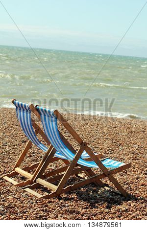 A Pair of Abstract Deck Chairs on the Beach Brighton West Sussex England