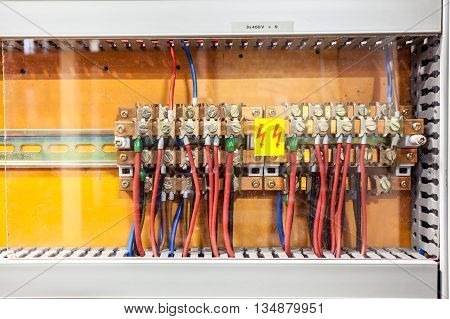 in an insurance there are electrical connection with an transparent plastic for protection