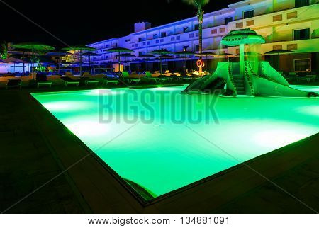 children's pool resort at night Greece Rhodes