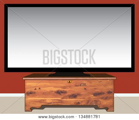 Large television resting on old fashioned cedar chest