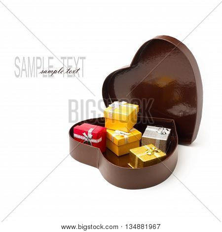 Gift boxes on white background in a heart shaped box