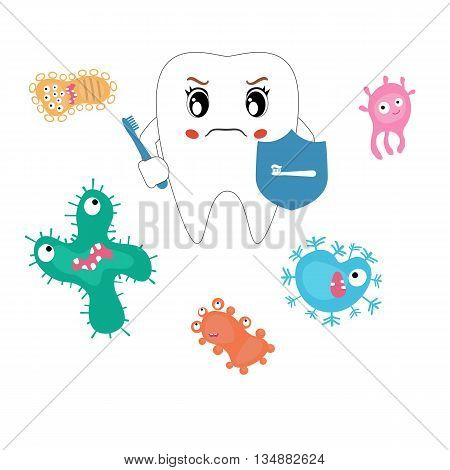 Dental cartoon vector compare healthy and unhealthy teeth. Concept of healthy teeth.