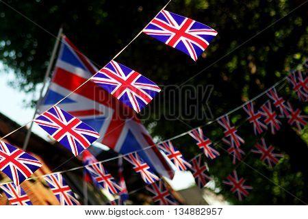 Abstract Union Jack Bunting Celebration Scene London england
