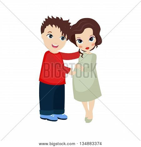 Vector illustration of happy pregnant woman and her husband on white background