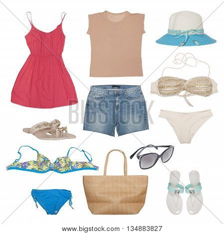 swimwear and beach accessories isolated on white