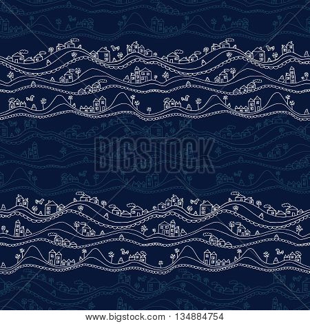 Abstract hand drawn seamless pattern with houses and snowdrifts. Vector illustration.