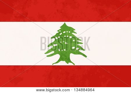True proportions Lebanon flag with grunge texture