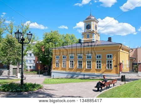 LAPPEENRANTA, FINLAND - JUNE 15, 2016:  Old Town Hall. It is oldest wooden Town Hall in Finland. Was built in 1829