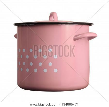 horizontal front view of a large classic cooking pink pot with dots isolated on white background