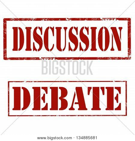 Set of grunge rubber stamps with text Discussion and Debate,vector illustration